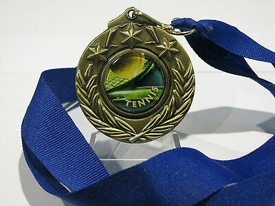Tennis Medal Gold 50mm With Neck Ribbon Engraved FREE