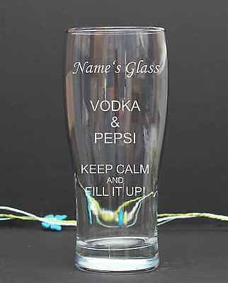 Personalised Engraved pint/tulip VODKA PEPSI GLASS Birthday Christmas 14