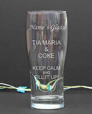 Personalised Engraved pint/tulip TIA MARIA & COKE GLASS Birthday Christmas 26