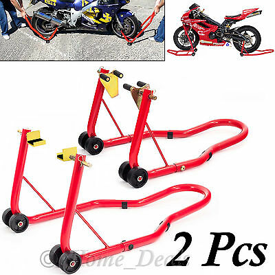 Warrior Front Head And Rear Motorcycle Bike Paddock Stand Stands Hook Combo Pair