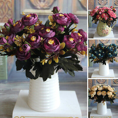 New Realistic Autumn Artificial Fake Peony Flower Home Hotel Hydrangea Decor