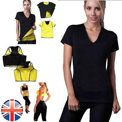 *UK Seller* Women Neoprene Body Shapers Slimming Yoga Vest T Shirt Belt Pants
