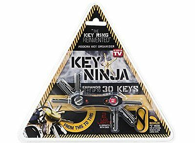 Key Ninja Key Holder Organizer with Dual Led lights and Clip Holds Up to 30 Keys