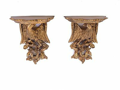 Pair of wall-mounted shelves - eagle design in an antique style - golden