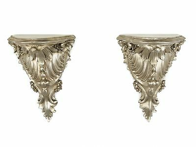 Pair baroque style wall mounted shelf