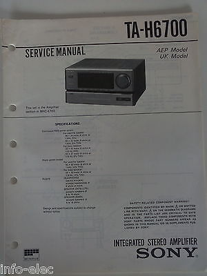 Schema SONY - Service Manual Integrated Stereo Amplifier TA-H6700 TAH6700
