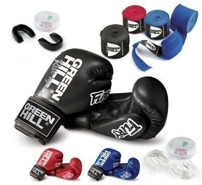 Kit Boxe: Fasce + Paradenti + Guantoni Fury Green Hill Guanti Kick Boxing