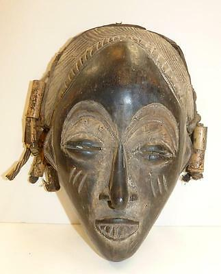 Older Chokwe Mask With Bamboo Pendents And Untouched Surface