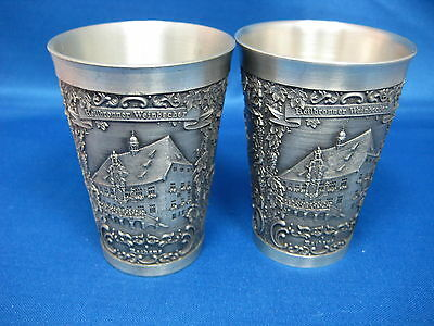 """3 1/4"""" Lot of Two  3 Scenes  Antique West German Embossed & Engraved Pewter Cups"""