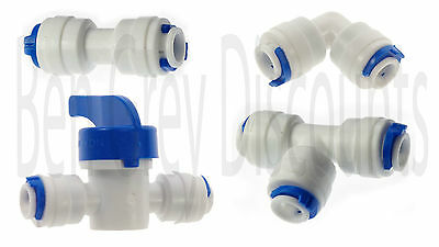 "UK 1/4"" Push Fit Pipe Fittings RO American Fridge Filter Elbow Tee Valve Osmosis"