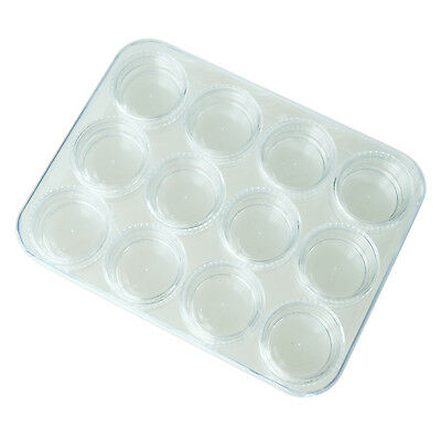 12 in 1 Nail Art Empty Storage Pots Clear Container For Nail Art Gems Beads T1