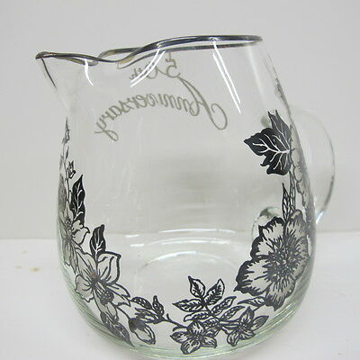 Vintage Silver OverlayJonquil Glass  Pitcher 50th Anniversary Applied Handle