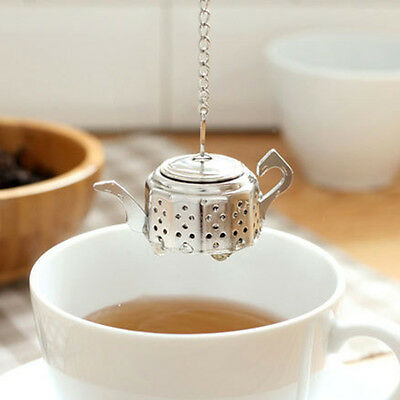 Stainless Loose Teapot Tea Leaf Infuser Spice Drink Strainer Herbal Filter+Tray