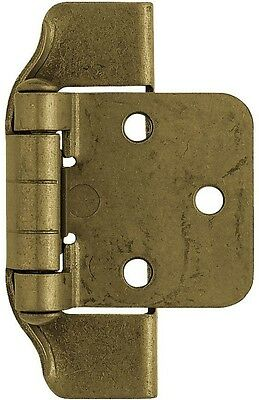 1-Pair In Antique Brass Semi-Wrap Overlay Kitchen Cabinet Door Hinge Hinges New