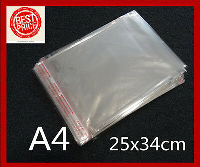 100 A4 25x 34CM Cello Bags Self Adhesive Resealable Clear Plastic Cellophane Bag