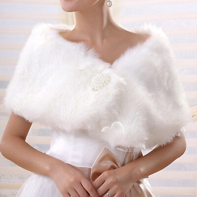 UK Faux Fur Ivory Bridal Shawl/Wrap Stolw Shrug Bolero Jacket Winter Warm Dress