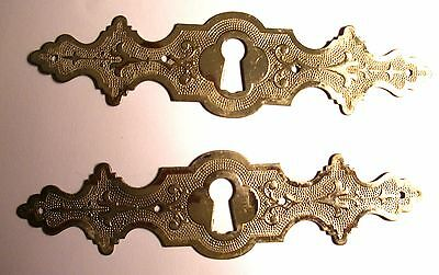 Old Vintage 2 Drawer Metal Chrome Key Cover Engraved