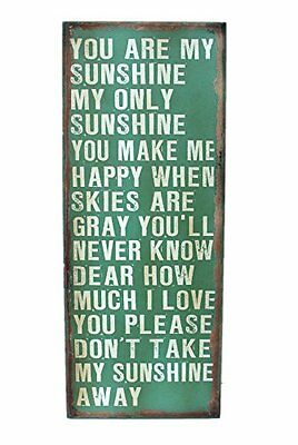 Attraction Design You are My Sunshine Wood Antique Wisdom Sign, Green, New, Free