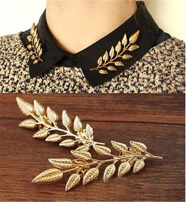 1Pair Student Gold Silver Vivid Leaves Shape Party Shirt collar Pin Brooches