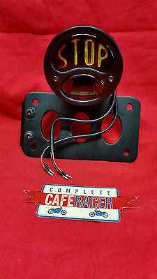 SM7b CAFE RACER SIDE MOUNT NUMBER PLATE BRACKET WITH STOP & TAIL LIGHT IN BLACK