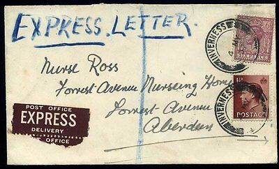 Post Office EXPRESS 1937 KGV/KEVIII Registered 'AT' INVERNESS Oval