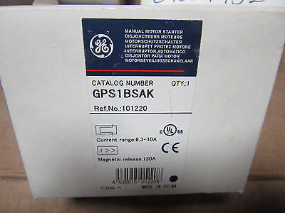 GE GPS1BSAK Manual Motor Starter 6.3A to 10 Amps NEW!!! in Box Free Shipping
