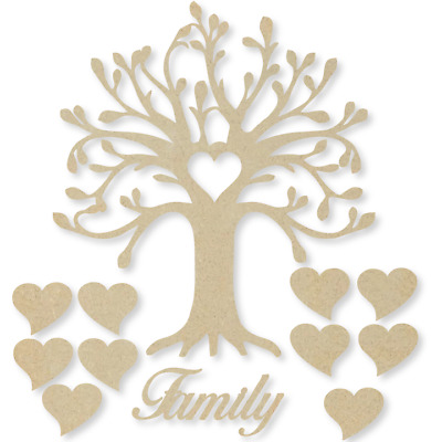 Curvy Family Tree Kit Set Heart 3mm MDF Laser Cut Wooden Craft Blank Wholesale