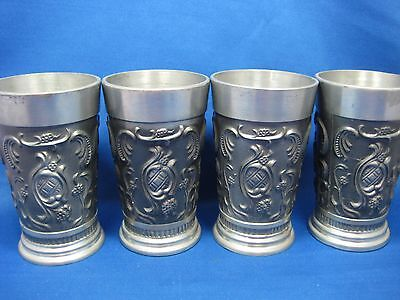 "Lot of Four 4.5""Antique German Solid Pewter Embossed Engraved Cups 3 Scenes Nice"
