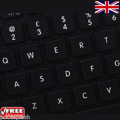 English UK Replacement Black Keyboard Stickers & White Letters Laptop Notebook