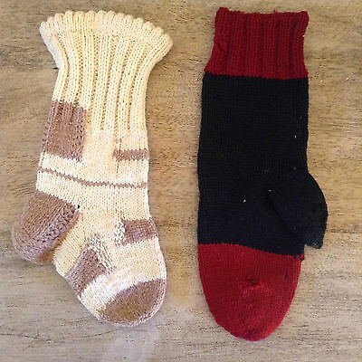 Vintage Child's Hand Knit Sock and Glove
