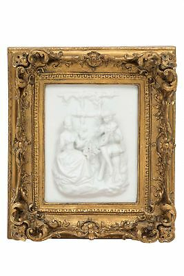 Picture in relief - aristocratic couple lady and gent - antique style