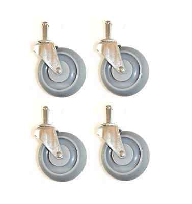 """Set of Four Swivel Stem Casters with 3"""" Soft Rubber Wheels and 7/16"""" x 1-7/16"""" G"""