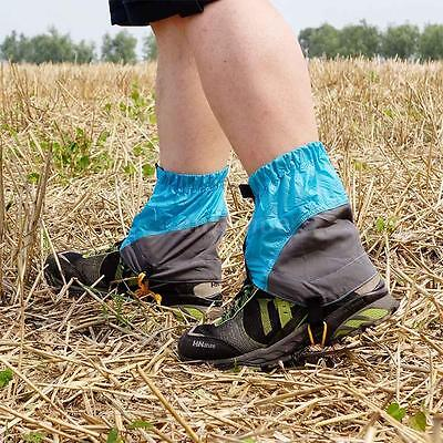 Outdoor Silicon Coated Nylon Waterproof Gaiters Leg Protection Guard Blue X1B7