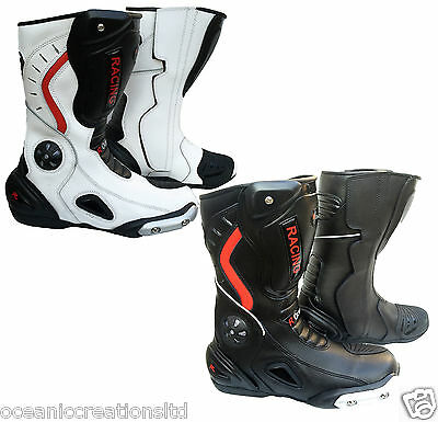 Motorcycle Black White Red Leather Waterproof Motorbike Winter Race Boots 7 - 14