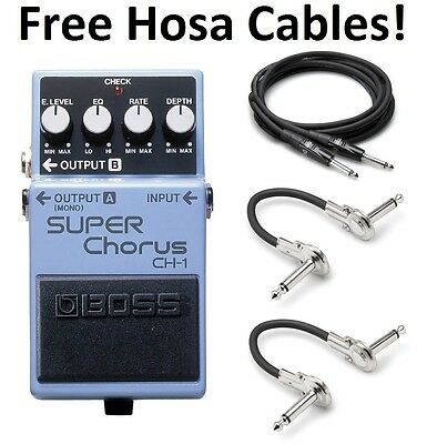 New Boss CH-1 Super Chorus Pedal! FREE Hosa Cables!