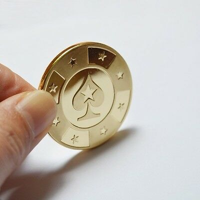 Gold Metal Token Coin Plastic Cover PokerStars Cards Guard Protector Chip Poker