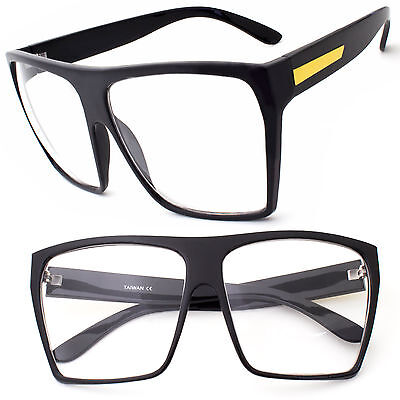 3034fcde52f Rectangle LARGE Black Glasses Men WoMen Clear Lens Oversized Nerd Geek  Eyewear u