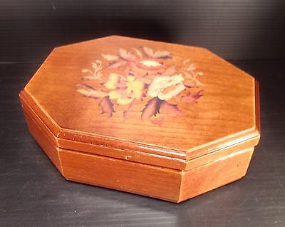Vintage Sankyo Wood With Flower Design Music Box - Made In Japan - Works Great!