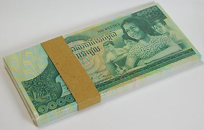 CAMBODIA 1000 RIELS ND P 17 UNC BUNDLE of (100 NOTES) VERY LARGE NOTES