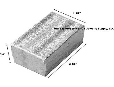 """Lot of 100 Small Silver Cotton Filled Jewelry Gift Boxes 2 1/8"""" x 1 1/2"""" x 5/8"""""""