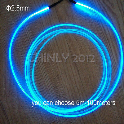 5meters 2.5mm Side Glow PMMA Fiber Optic Cable for Car use home use