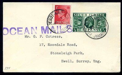 "1937 KEVIII/KGV PAQUEBOT Kingston Jamaica to Ewell ""OCEAN MAILS"""