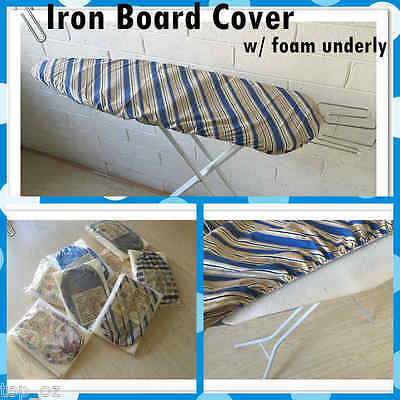 New Elasticated Ironing Board Cover - Cotton made w/ Padded Foam in Retail Pack