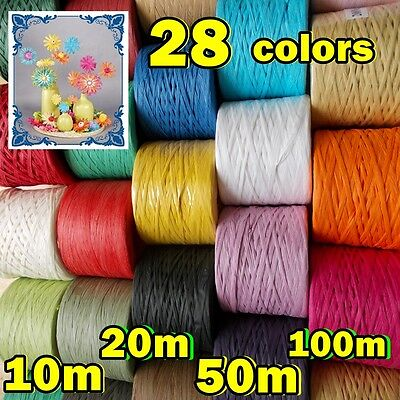 Many COLOR RAFFIA PAPER RIBBON Band Tape Crafts Gifts Flowers Scrapbooks,100m