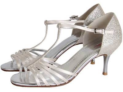 Rainbow Club Florrie Shimmer Satin Strappy Womens Wedding Shoe UK Size 3-8 RRP79