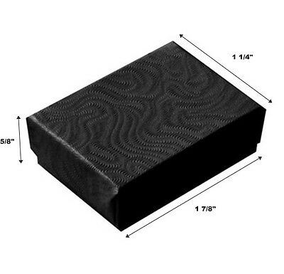 Lot of 500 Small Black Swirl Cotton Fill Jewelry Gift Boxes 1 7/8 x 1 1/4 x 5/8