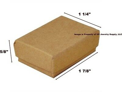 Lot of 500 Small Kraft Brown Cotton Fill Jewelry Gift Boxes 1 7/8 x 1 1/4 x 5/8