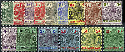 British Solomon Islands SG 39-52 1922-31 Mult Script CA Mint set of 15. Cat £200