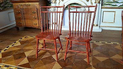 Dollhouse Artisan William S Clinger Bamboo Side Chairs Hand Painted