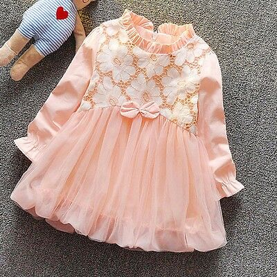 Girls Pink Flower Tulle Party Birthday Princess  Baby Child Clothes Size 6-24M